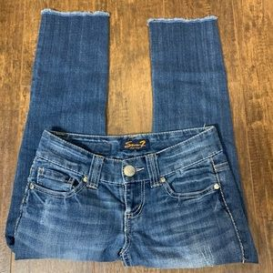 Seven7 cropped fray bottom jeans blue size 25